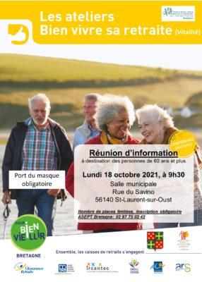 Ateliers Bien Vivre sa Retraite - St Laurent sur Oust (56) @ Salle municipale   Saint-Laurent-sur-Oust   Bretagne   France